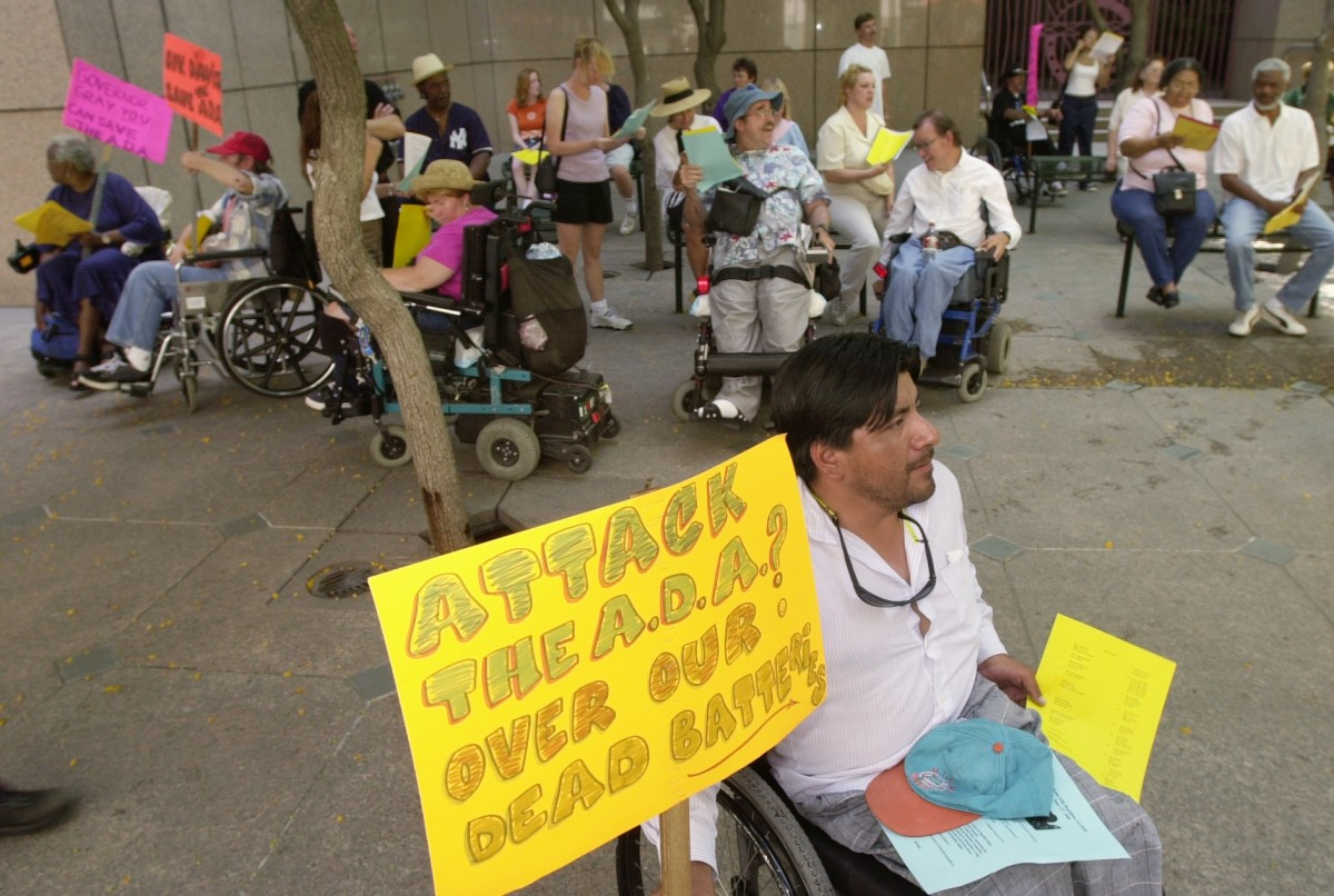 Disabled demonstrators rally in Los Angeles in June of 2000 to protest the state of California's challenge to the Americans With Disabilities Act of 1990.