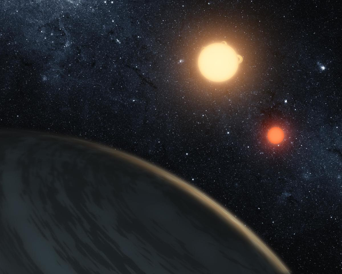 A digital illustration, released on September 15th, 2011, by NASA, of the newly discovered gaseous planet Kepler-16b orbiting its two stars.