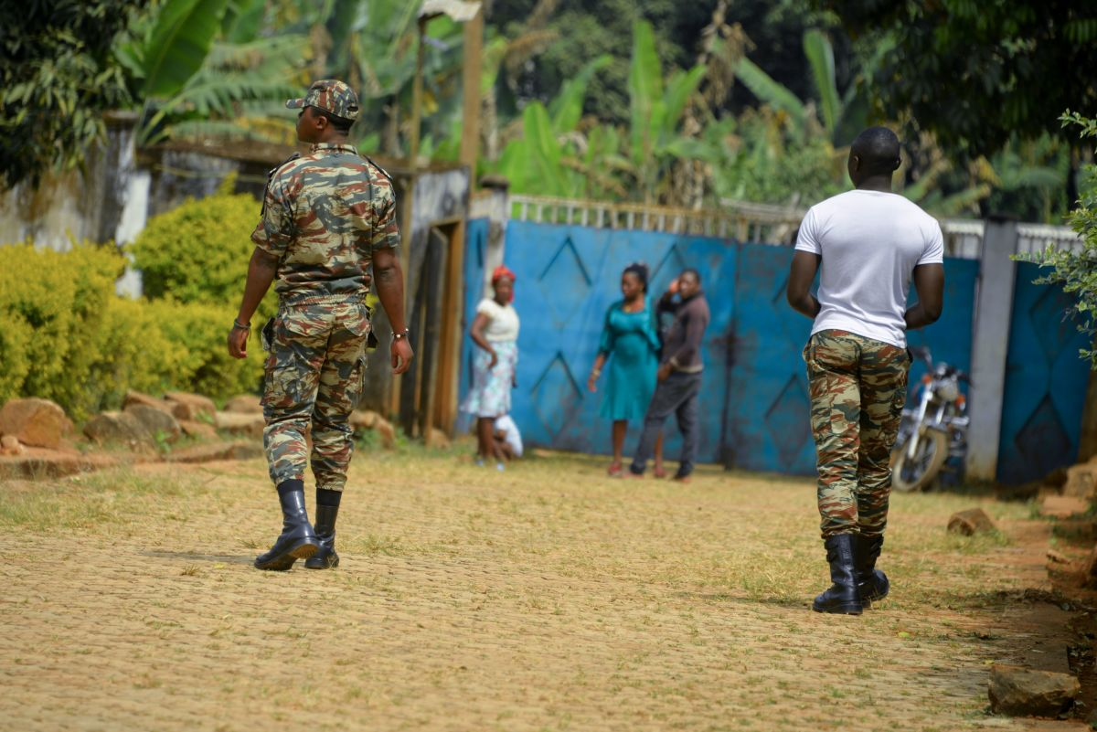 Soldiers patrol in Bafut, after the roof of a school's dormitory was set on fire, on November 15th, 2017.