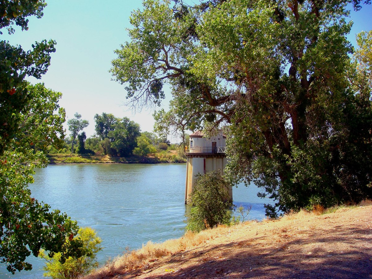 The Sacramento River as seen from the old pumping station in Sacramento, California.