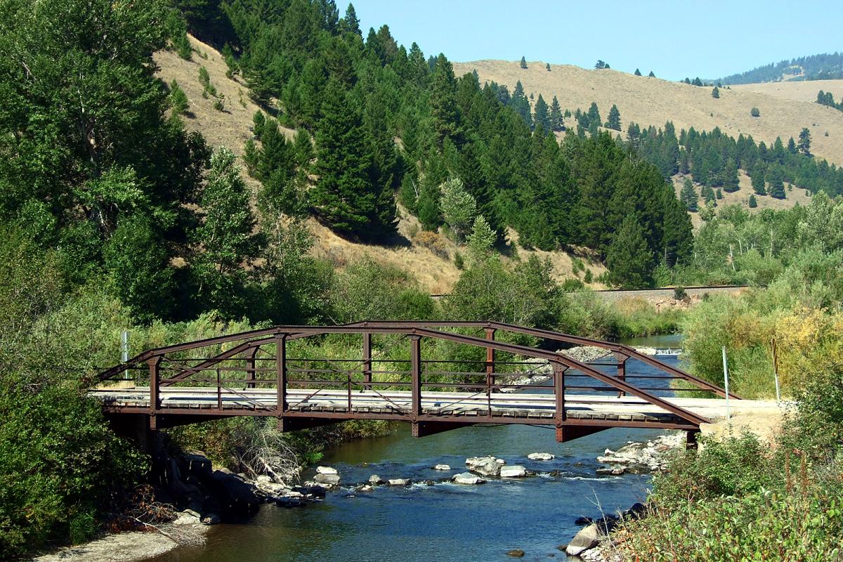 The Little Blackfoot River Bridge in Avon, Montana.