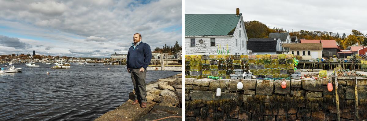 Left: Andrew Dorr. | Right: Vinalhaven, Maine.