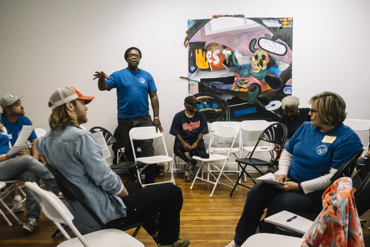 Newark, Ohio, September 8th, 2018: Eric Lee speaks during a Newark Think Tank on Poverty meeting in a local art gallery space.