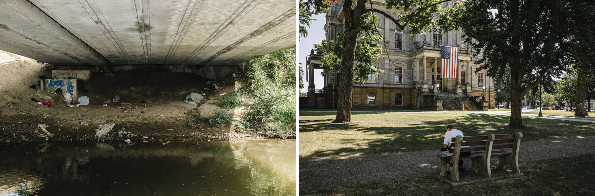 Left: Licking County, Ohio, September 5th, 2018: A homeless encampment under a bridge across Raccoon Creek, the location where Johnathon Chaney slept during a period of homelessness. | Right: Newark, Ohio, September 5th, 2018: The Licking County Courthouse.