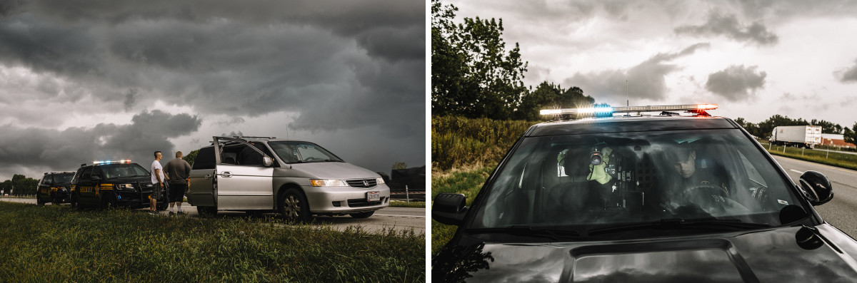 Left: Licking County, Ohio, September 6th, 2018: A motorist and his passenger stand outside their vehicle as Licking County sheriffs search for contraband on the shoulder of Interstate 70. | Right: Licking County, Ohio, September 6th, 2018: Detective Tanner Vogelmeier sits inside his patrol car on the edge of Interstate 70. Vogelmeier is an interdiction specialist working to intercept drugs coming into Licking County.