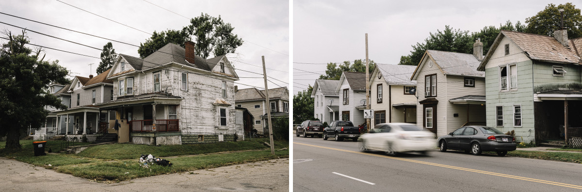 Right: Licking County, Ohio, September 7th, 2018: Houses on 11th Street in downtown Newark.