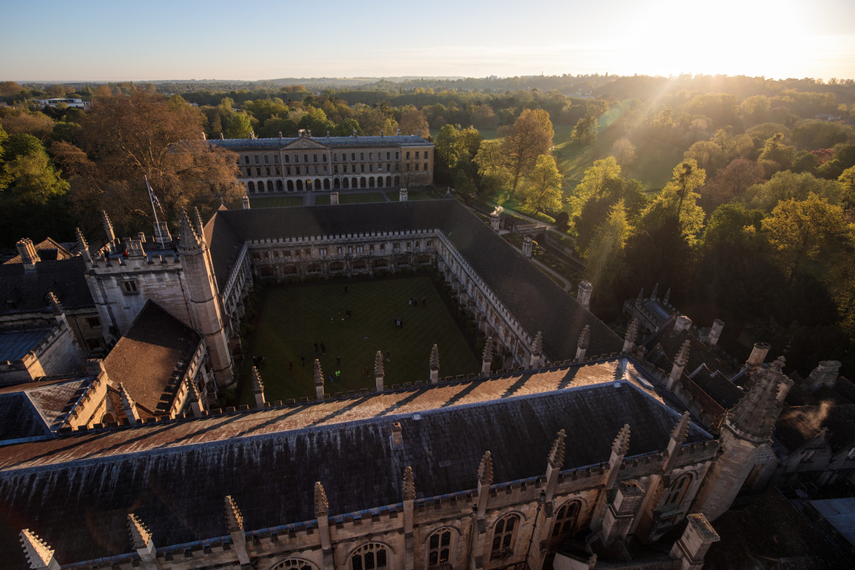 The sun rises on Magdalen College at Oxford University on May 1st, 2018, in Oxford, England.