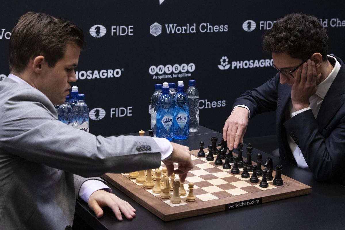 Defending world champion Magnus Carlsen, a Norwegian, plays opponent American Fabiano Caruana in the final game of the World Chess Championship on November 28th, 2018, in London, England. Caruana unsuccessfully tried to unseat Carlsen and become the first American world champion since Bobby Fischer in 1972.