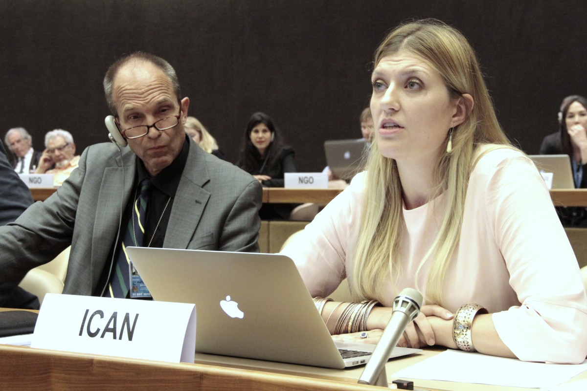 Beatrice Fihn addresses the U.N. open-ended working group on nuclear disarmament in May of 2016.