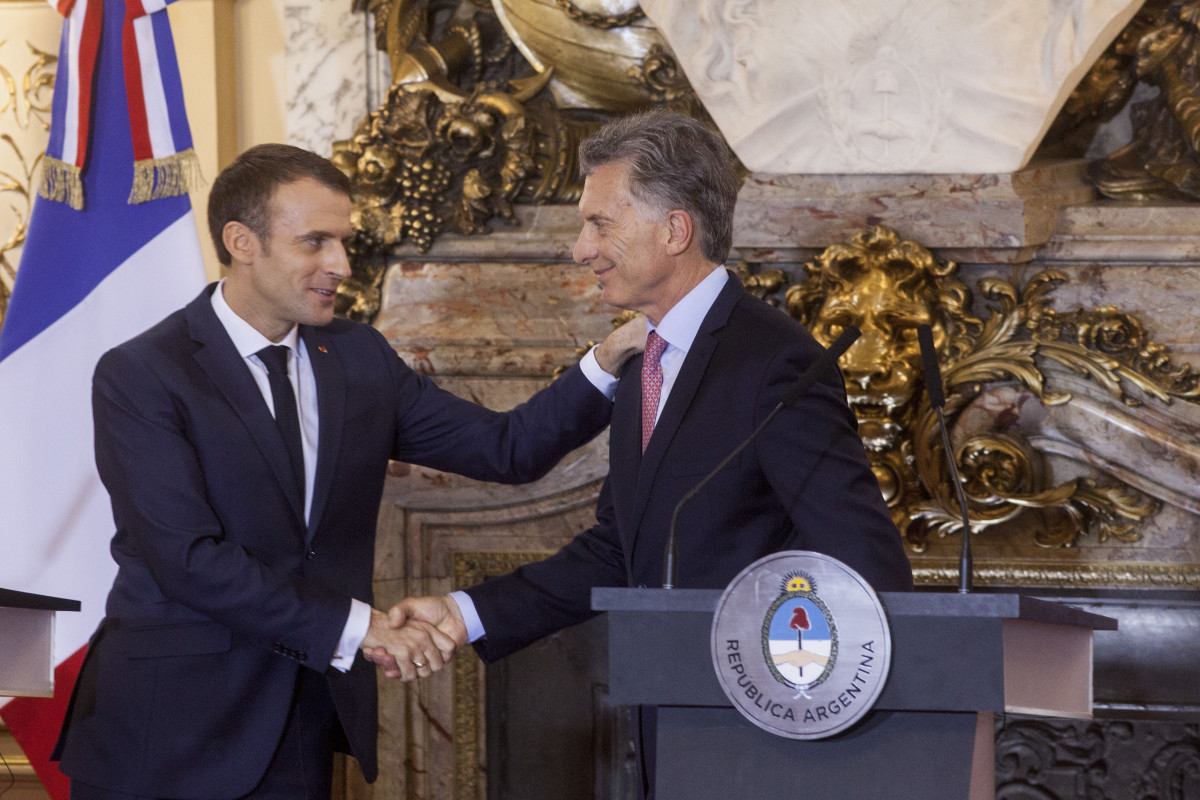 President of France Emmanuel Macron shakes hands with President of Argentina Mauricio Macri after a meeting as part of the G20 Leaders' Summit 2018 at Casa Rosada on November 29th, 2018, in Buenos Aires.