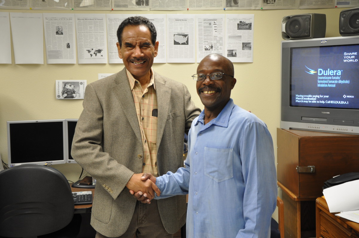 Juan Haines with Wilbert Rideau, former editor of Angolite Magazine at Louisiana State Penitentiary.