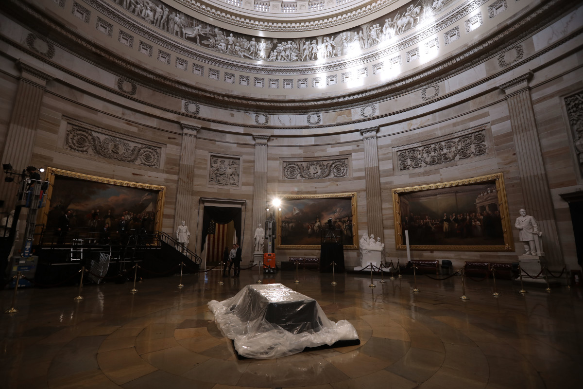 The Lincoln catafalque is protected by a plastic cover as preparations for the arrival of the body of former United States President George H.W. Bush continue at the U.S. Capitol Rotunda on December 3rd, 2018, in Washington, D.C. A World War II combat veteran, Bush served as a member of Congress from Texas, ambassador to the United Nations, director of the Central Intelligence Agency, vice president, and 41st president of the U.S. A state funeral for Bush will be held in Washington over the next three days, beginning with him lying in state in the U.S. Capitol Rotunda until Wednesday morning.