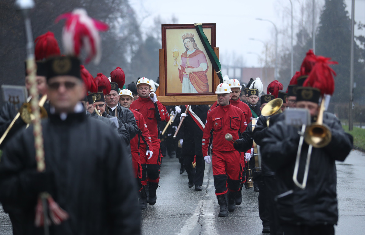 Coal miners from Poland's Pniowek coal mine carry a painting of Saint Barbara on Barbórka, their annual day of tribute to Barbara, from the mine to their local church on December 4th, 2018, in Pawlowice, near Wodzislaw Slaski, Poland. Barbara is the patron saint of coal miners, and every December 4th, miners across Poland celebrate her with a march, a religious mass, and a festive gathering. Coal provides about 80 percent of Poland's electricity. The mines, many of them in the region of Silesia in southern Poland, employ tens of thousands of workers. Meanwhile, the United Nations' COP 24 climate conference is taking place in nearby Katowice.