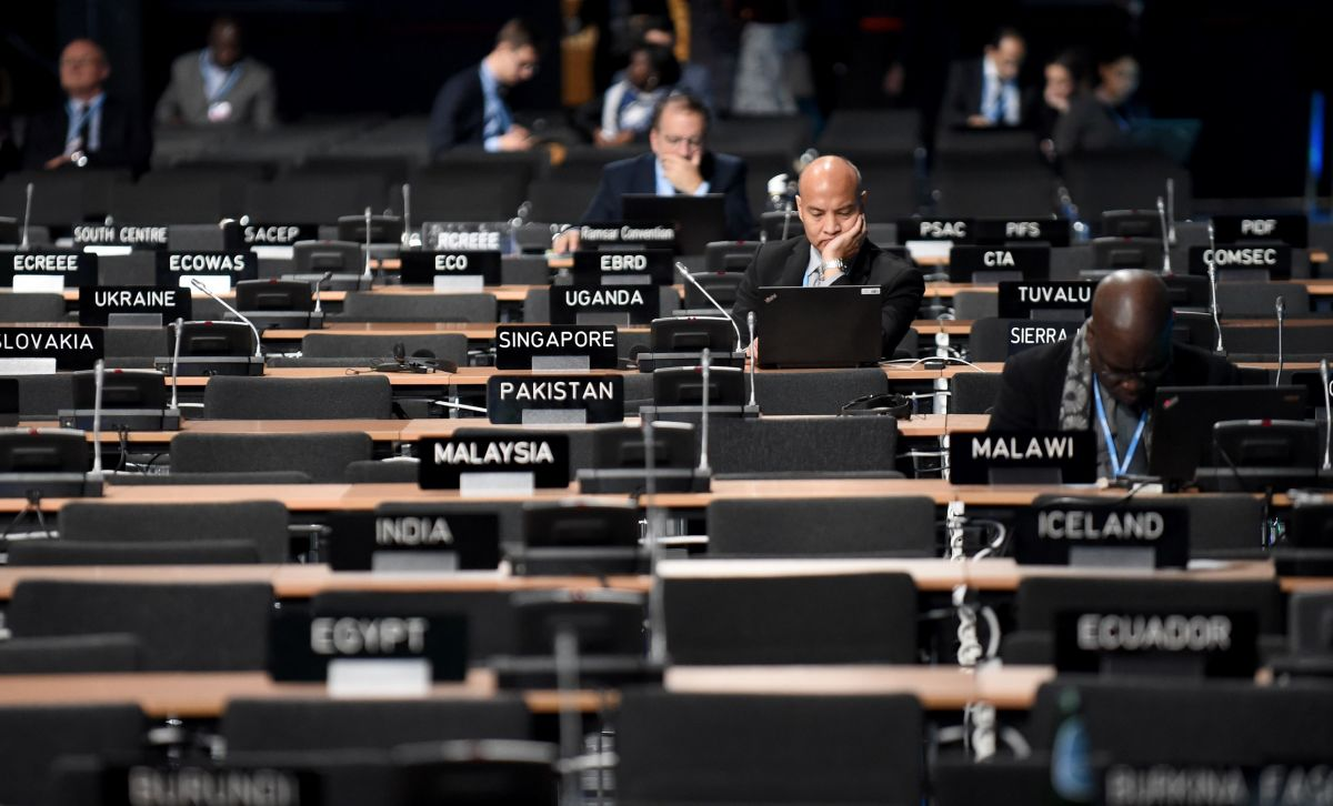 Participants at work in the main plenary room during the COP24 summit in Katowice, Poland, on December 4th, 2018.