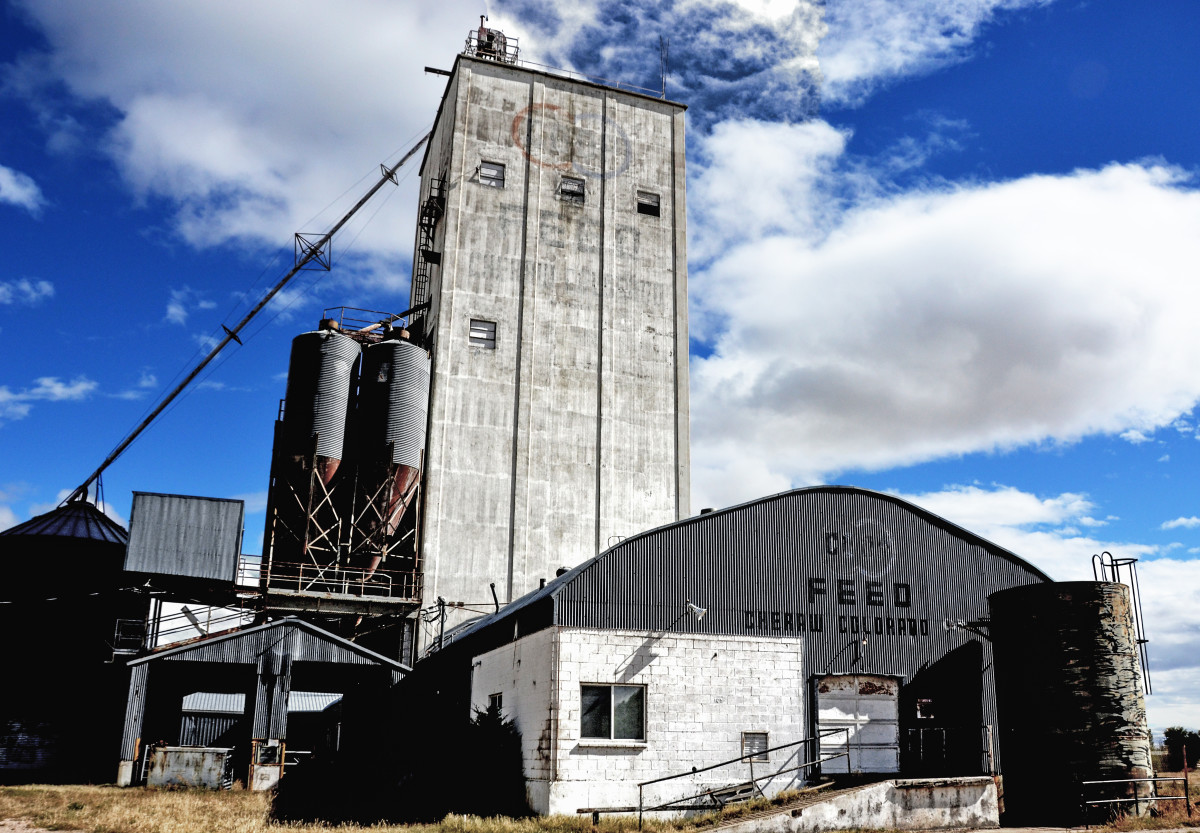 An old grain elevator in Cheraw, Colorado.