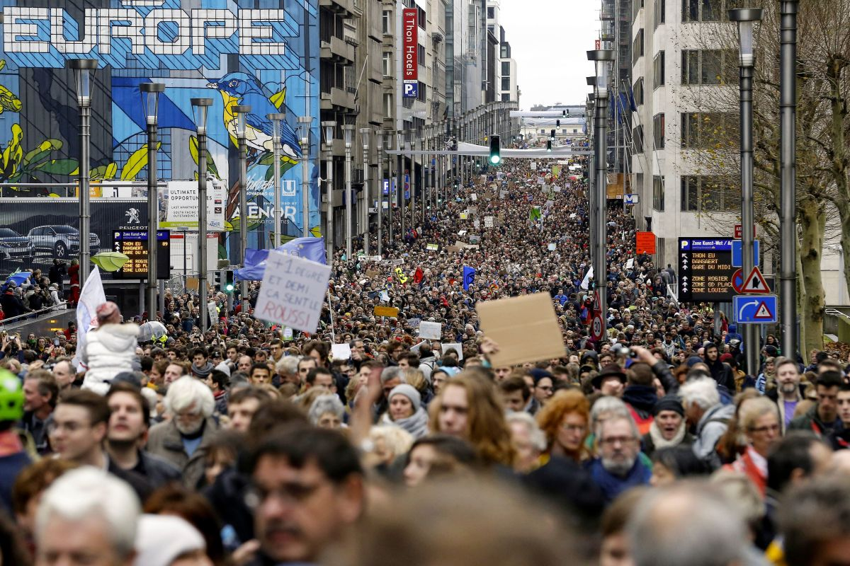 Participants in the Claim the Climate march on December 2nd, 2018, in Brussels, Belgium.