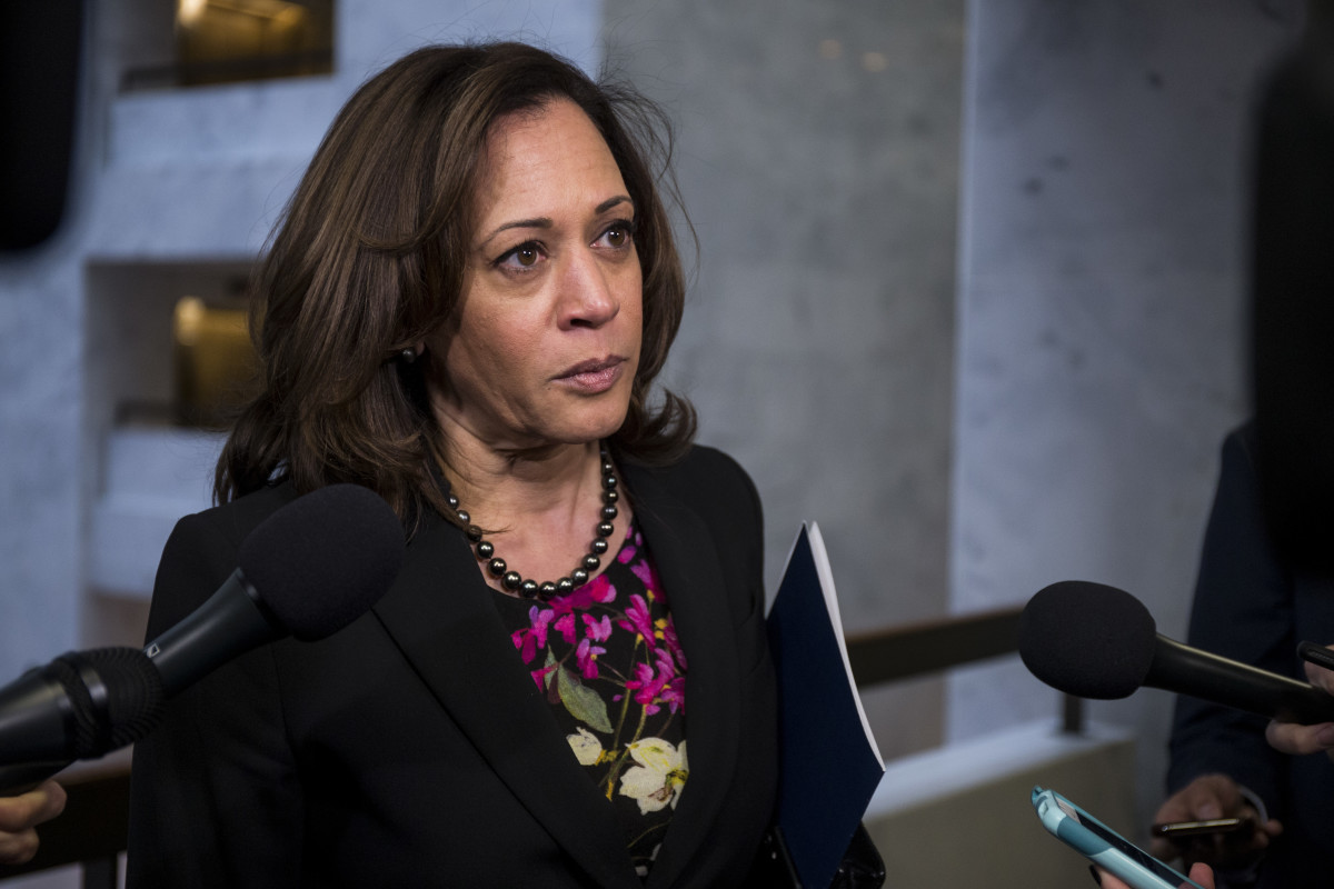 Senator Kamala Harris speaks to reporters on December 4th, 2018, in Washington, D.C.