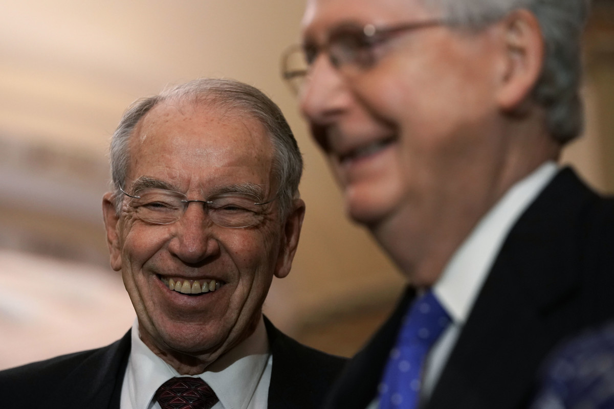 Senate Majority Leader Mitch McConnell (right) shares a laugh with Senator Chuck Grassley on November 18th, 2018, at the U.S. Capitol in Washington, D.C.