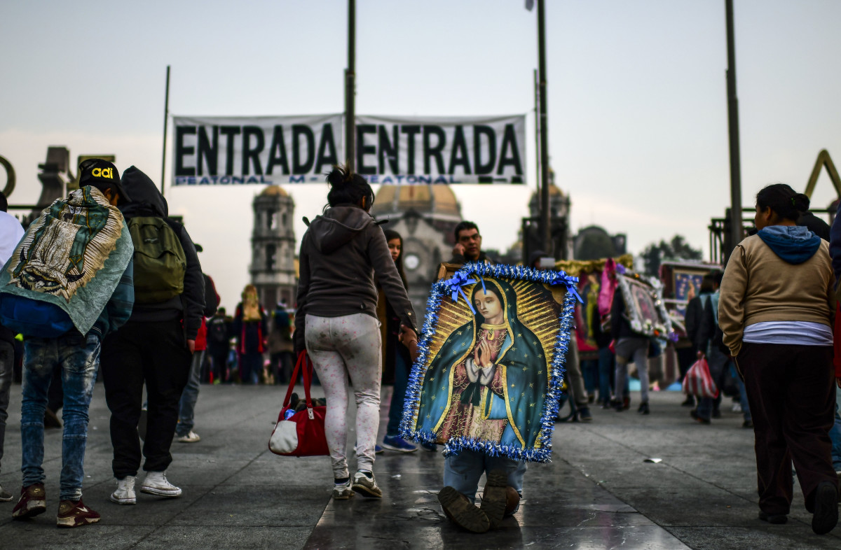 A pilgrim arrives on his knees at the Basilica of Guadalupe in Mexico City during the annual celebration of the Virgin of Guadalupe, Mexico's patron saint, on December 12th, 2018. Hundreds of thousands of pilgrims make the trip to the Basilica of Our Lady of Guadalupe each year for the feast day.
