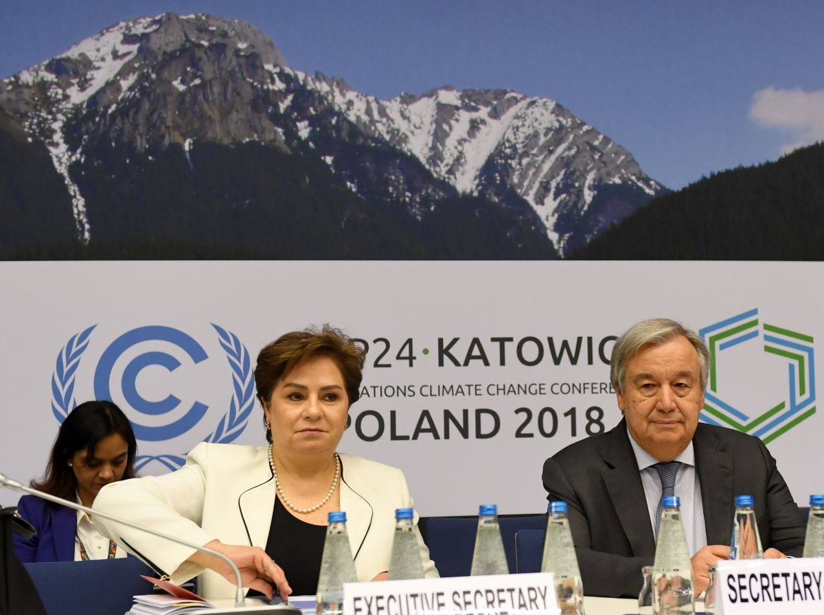 U.N. Secretary General António Guterres and Executive Secretary of United Nations Framework Convention on Climate Change Patricia Espinosa attend a meeting with representatives of various NGOs before the final session of the COP24 summit on climate change in Katowice, Poland, on December 14th, 2018.