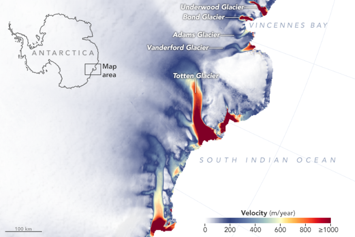 Map showing the velocities of glaciers in East Antarctica