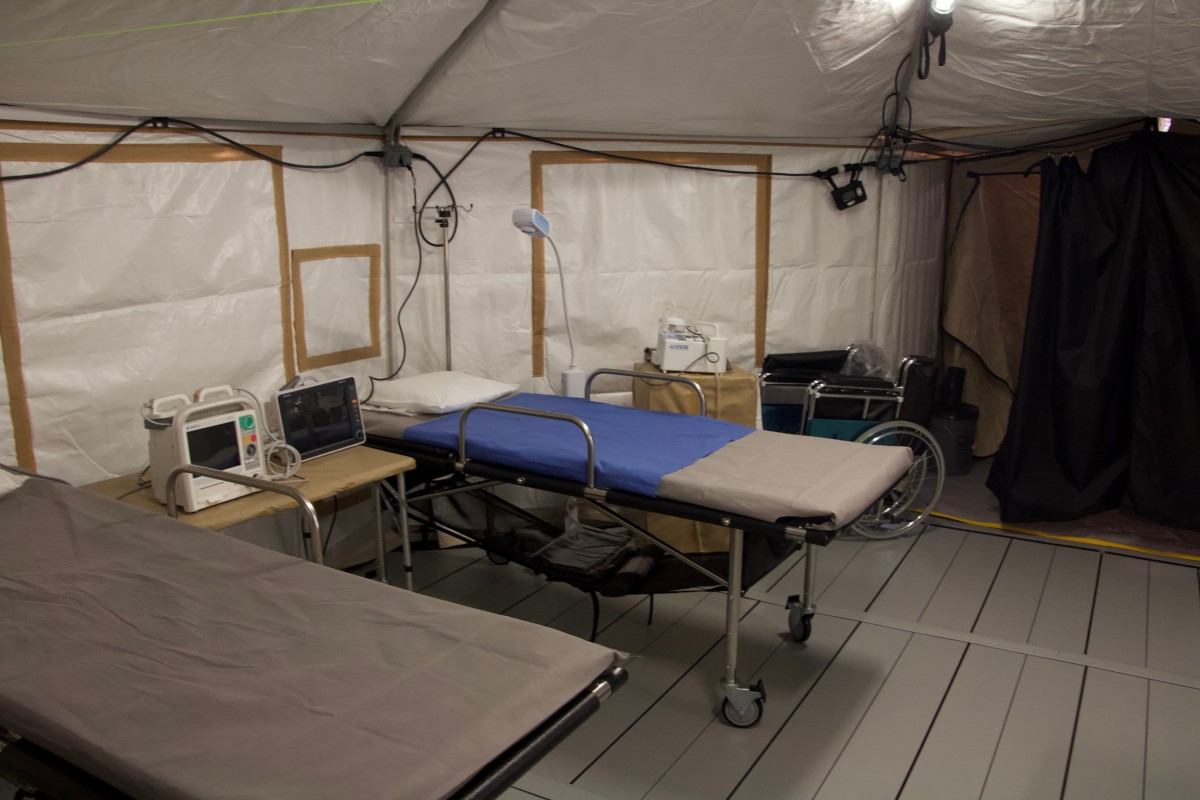 Inside the field hospital clinic the Mexican government operates inside El Barretal.