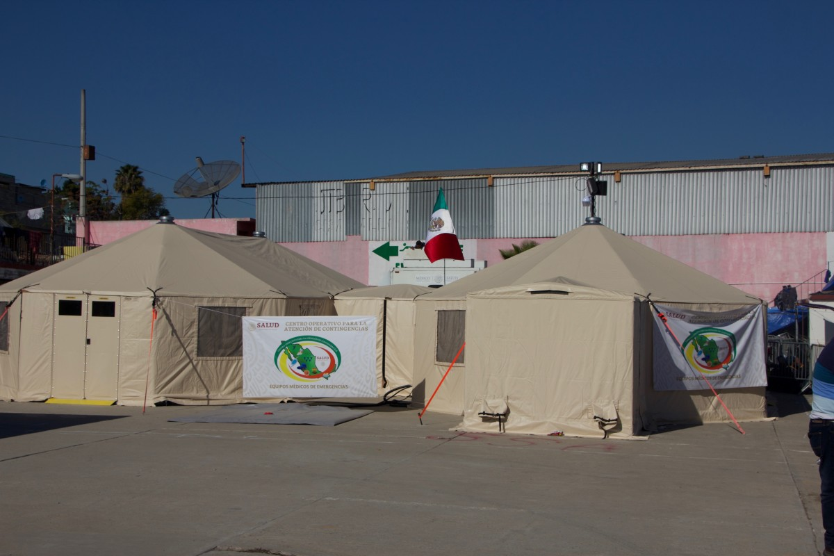 The Mexican government operates a field hospital inside of El Barretal.