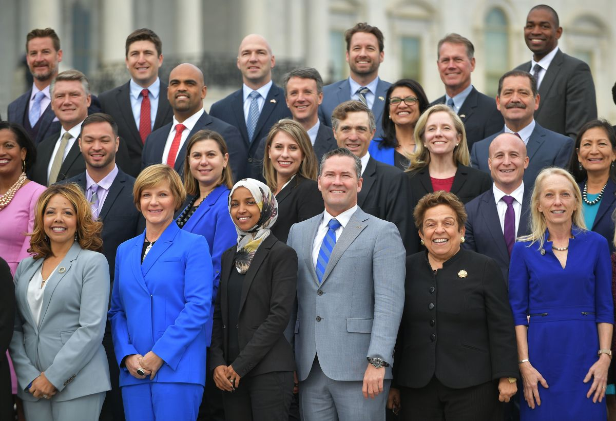 Democratic congresswoman-elect Ilhan Omar, Minnesota, poses along with others for the 116th Congress members-elect group photo on the East Front Plaza of the U.S. Capitol in Washington, D.C., on November 14th, 2018.