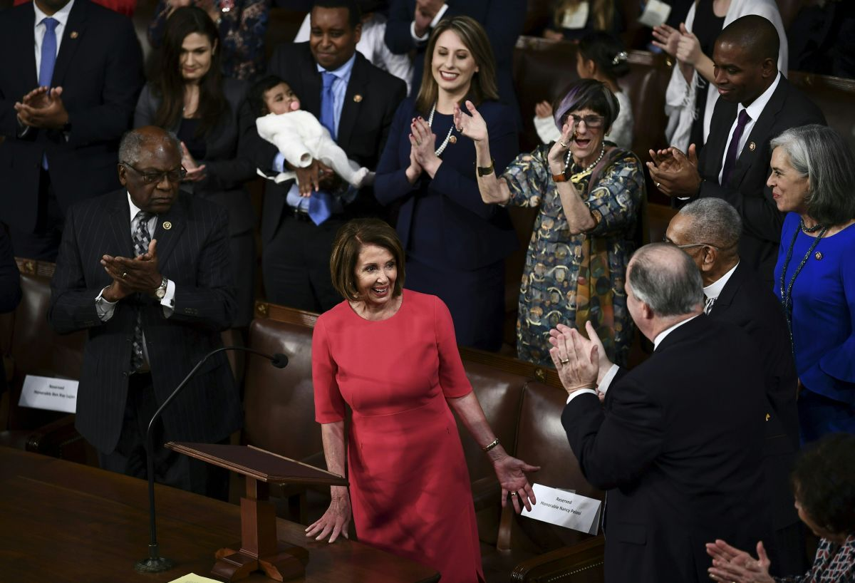 Nancy Pelosi reacts as she is confirmed as speaker of the House during the 116th Congress and swearing-in ceremony on the floor of the U.S. House of Representatives on January 3rd, 2019 in Washington, D.C.
