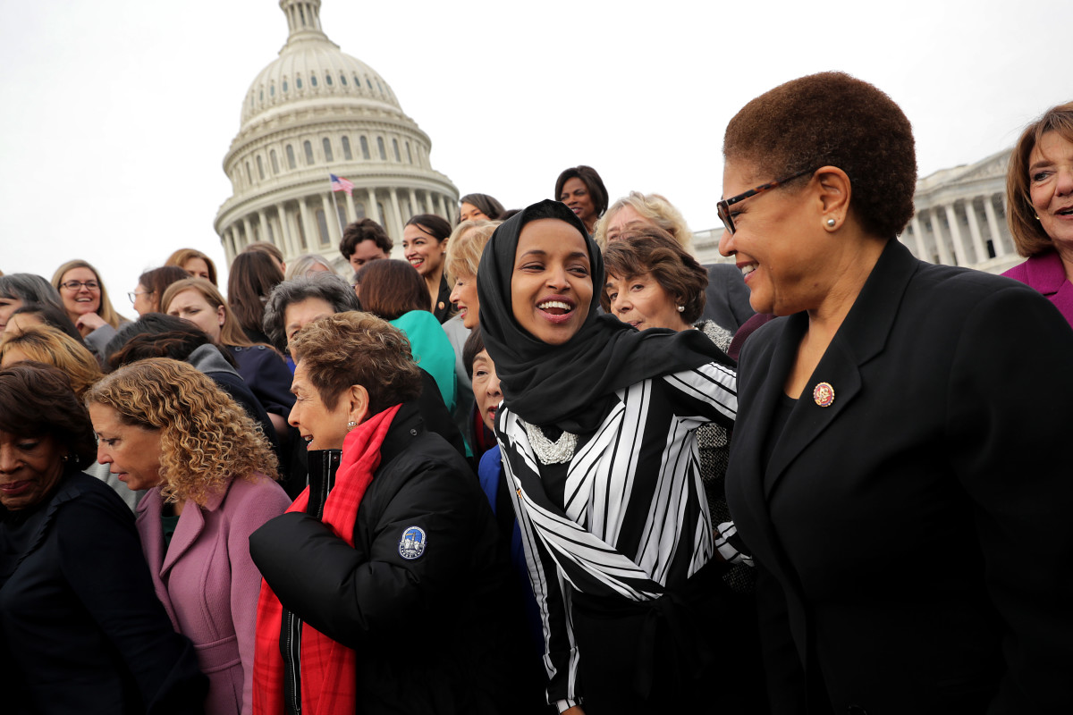 Representative Ilhan Omar (D-Minnesota) joins her fellow House Democratic women for a portrait in front of the U.S. Capitol on January 4th, 2019, in Washington, D.C.