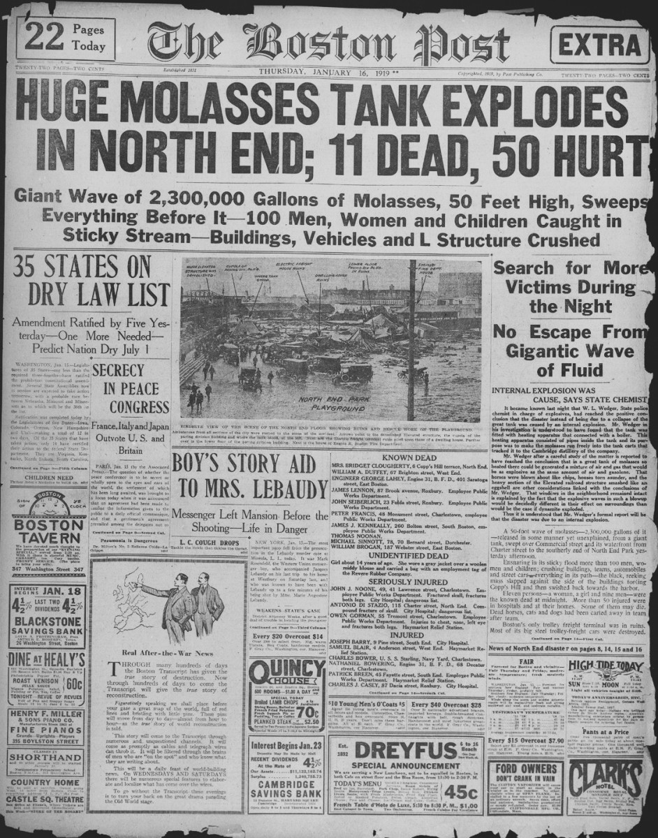 A report on the Molasses Disaster, appearing in the January 16th edition of the Boston Post.