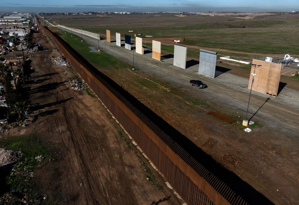 An aerial view of President Donald Trump's border wall prototypes as seen from Tijuana, in Baja California state, Mexico, on January 7th, 2019.