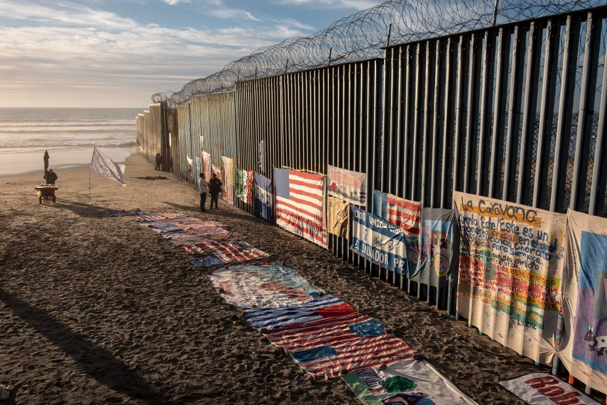 An exhibit by local artist Robenz is on display on the beach next to a section of the U.S.-Mexico border fence as seen from Tijuana, in Baja California state, Mexico, on January 8th, 2019.