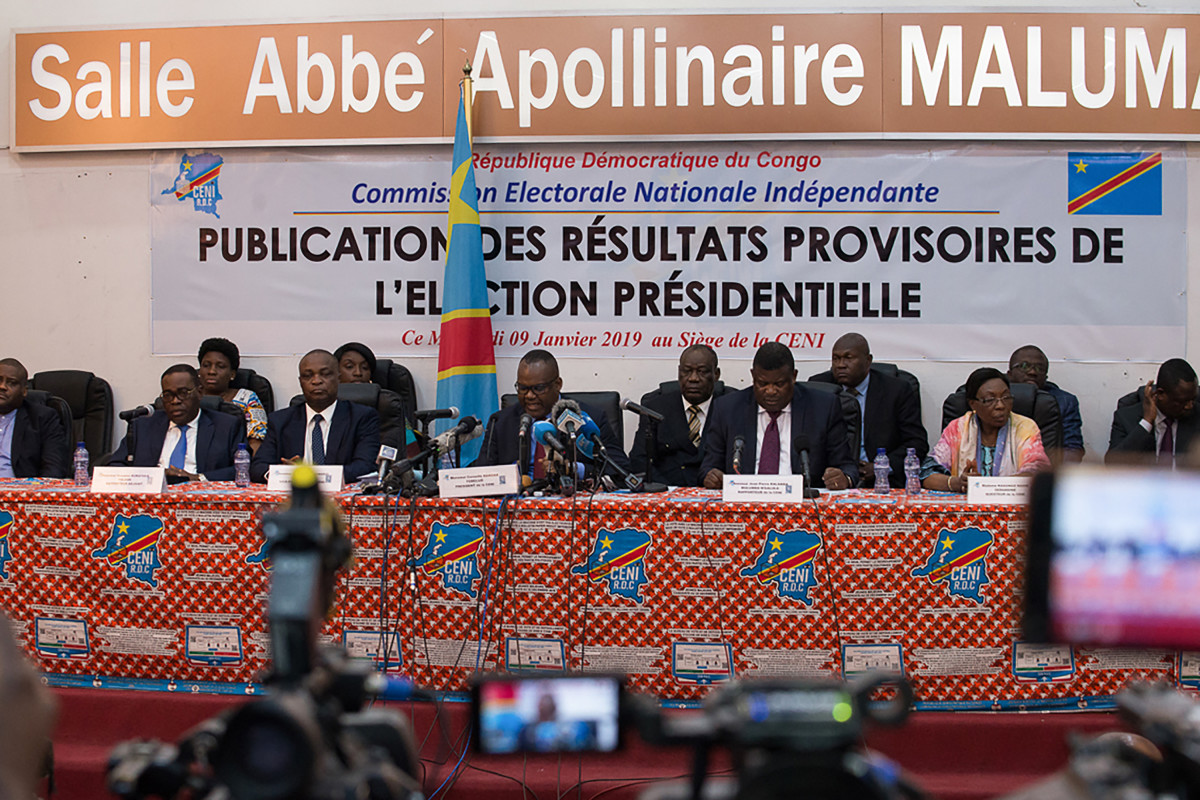 CENI President Nangaa Yobeluo announces the provisional results of the presidential election in Kinshasa on January 10th, 2019.