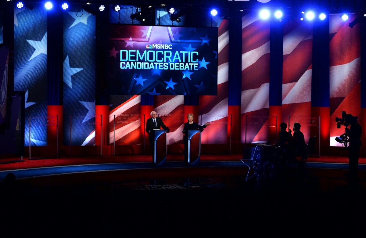Democratic presidential candidates Hillary Clinton and Bernie Sanders participate in the MSNBC Democratic Debate at the University of New Hampshire in Durham, New Hampshire, on February 4th, 2016.