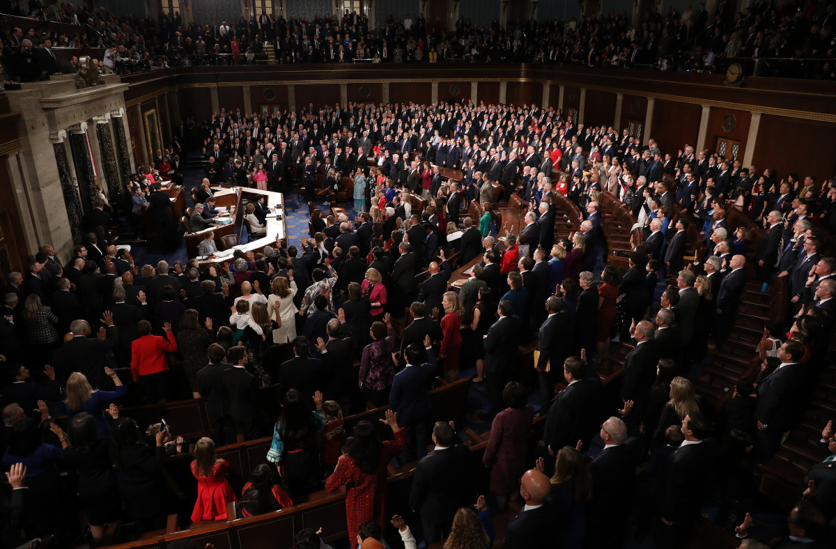 Members of the House of Representatives are sworn in during the first session of the 116th Congress at the U.S. Capitol on January 3rd, 2019, in Washington, D.C.
