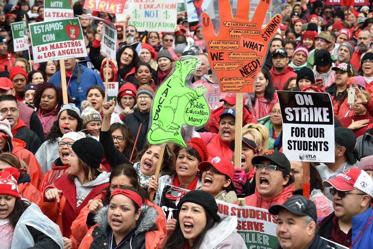 Striking teachers and their supporters rally in downtown Los Angeles, California, on the second day of the teachers strike, on January 15th, 2019.