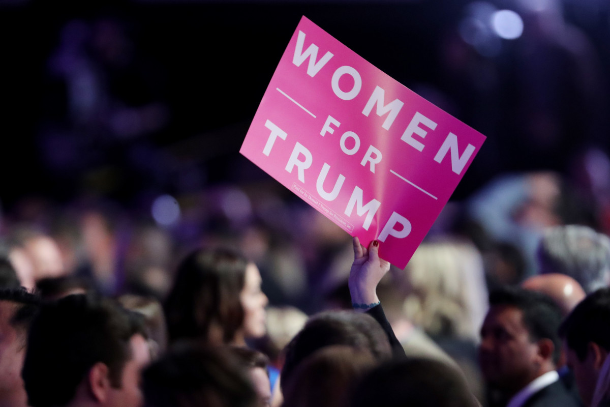 An attendee holds up a 'Women For Trump' sign during the election night event at the New York Hilton Midtown on November 8th, 2016, in New York City.