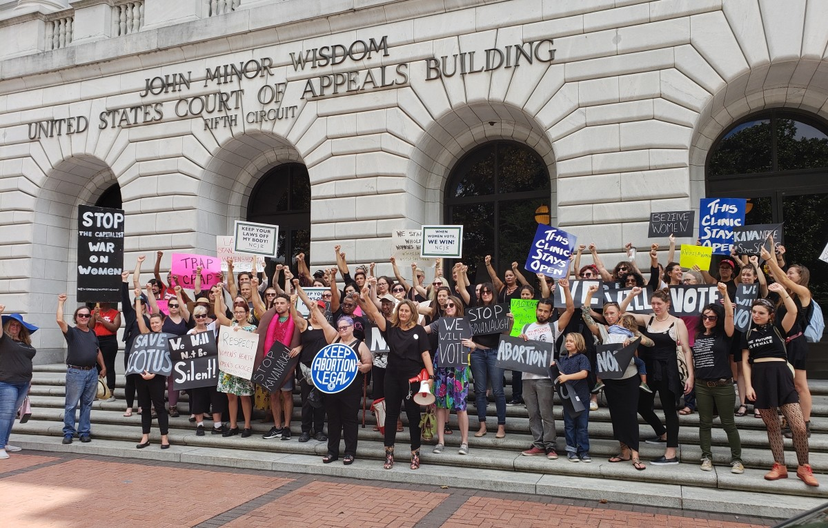 Protesters gathered at the Fifth Circuit Court of Appeals in New Orleans on October 5th, 2018, to denounce a decision that upheld a Louisiana law requiring abortion doctors to have admitting privileges at nearby hospitals. They also protested the nomination of Justice Brett Kavanaugh to the Supreme Court one day before he was sworn into office.