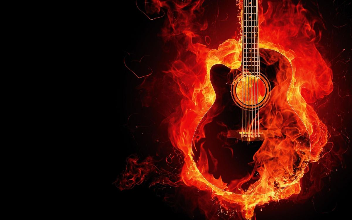 Guitar on fire music