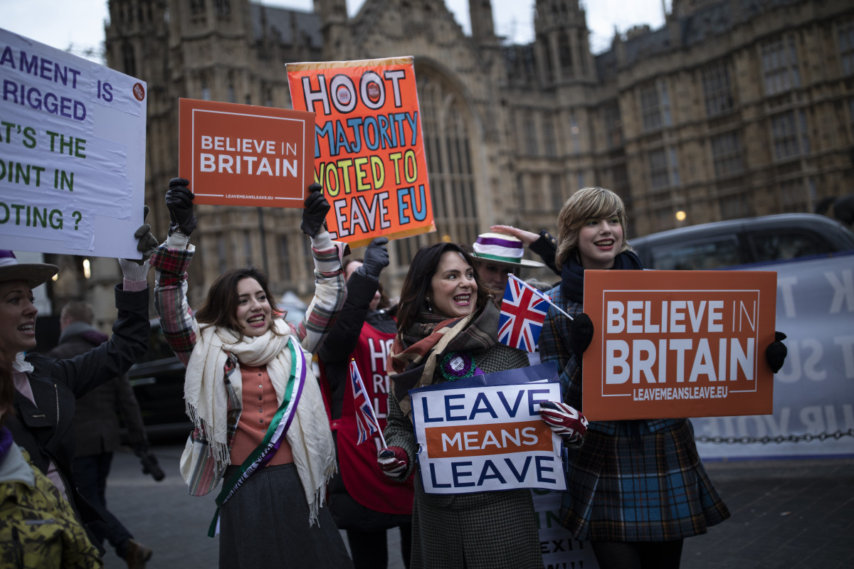 Pro-Brexit protesters gather near the Houses of Parliament on January 29th, 2019, in London.
