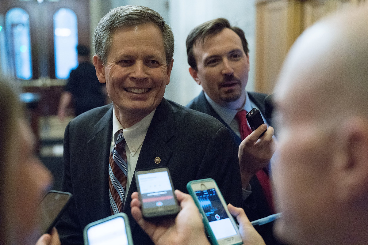 Senator Steve Daines speaks to reporters on October 5th, 2018.