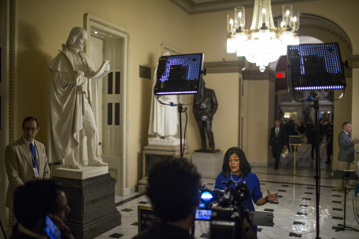 Rep. Pramila Jayapal (D-Washington) speaks to a television crew following a June of 2018 vote on the Blue Water Navy Vietnam Veterans Act. While the bill later stalled in the senate, the U.S. Court of Appeals for the Federal Circuit ruled in January of 2019 that Blue Water Vietnam veterans are entitled to VA claims related to exposure to Agent Orange.