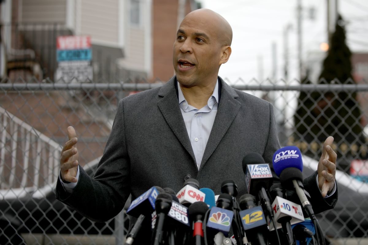Senator Cory Booker announces his run for president in 2020, on February 1st, 2019, outside his home in Newark, New Jersey.