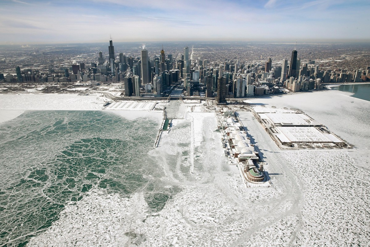 Ice builds up along the shore of Lake Michigan as temperatures dipped to lows around -20 degrees on January 31st, 2019, in Chicago, Illinois. Businesses and schools closed, Amtrak suspended service into the city, more than a thousand flights were canceled, and mail delivery was suspended as the city coped with record-setting low temperatures.