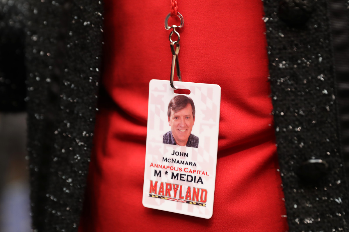 Andrea Chamblee, wife of Capitol Gazette Newspaper shooting victim John McNamara, wore her husband's press pass to a hearing of the House Judiciary Committee in the Rayburn House Office Building on Capitol Hill February 6th, 2019.