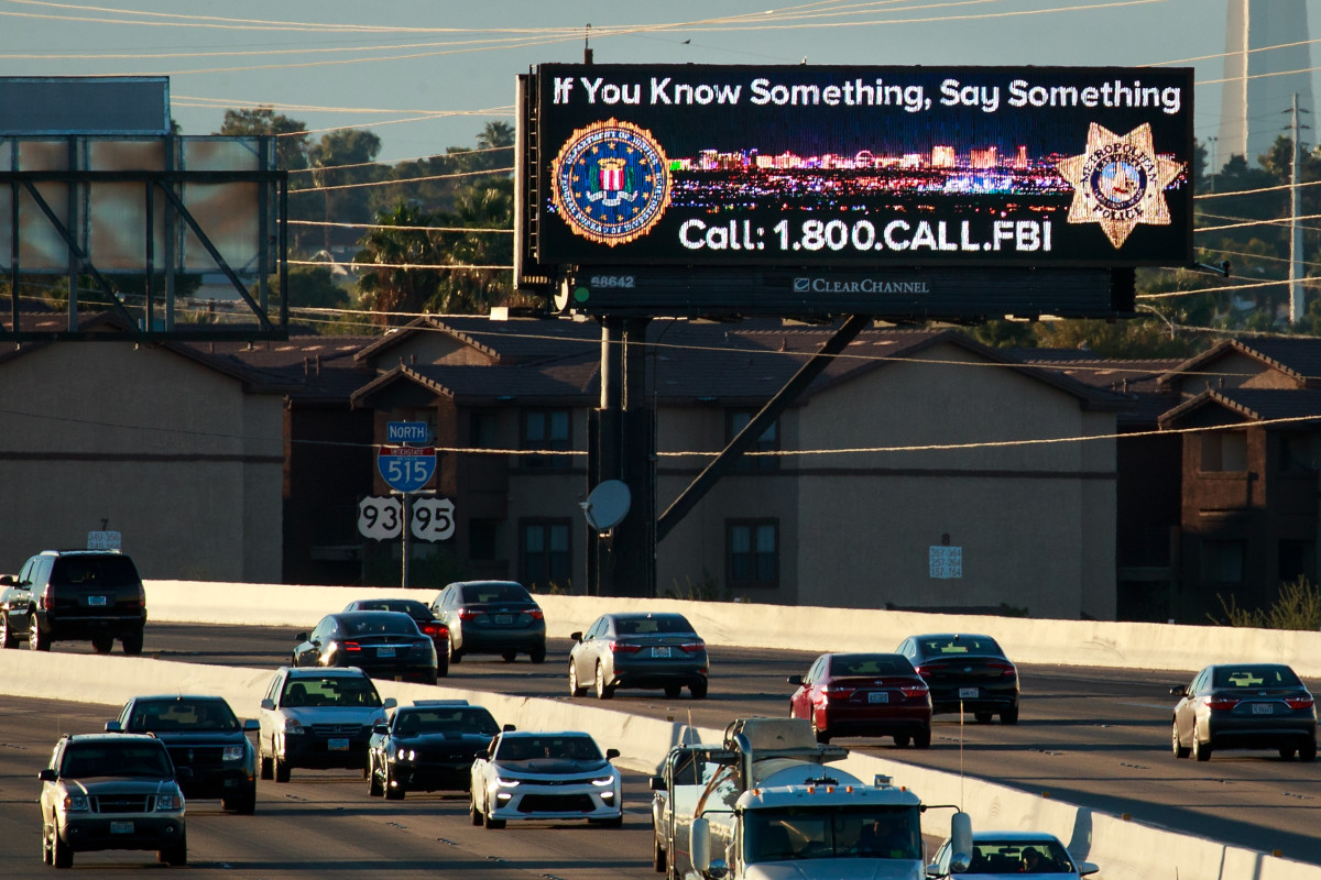 A roadside billboard featuring a FBI tip line phone number on Interstate 515, in Las Vegas, Nevada, in October of 2017.