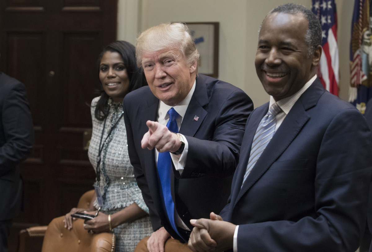 President Donald Trump holds an African American History Month listening session with Ben Carson.