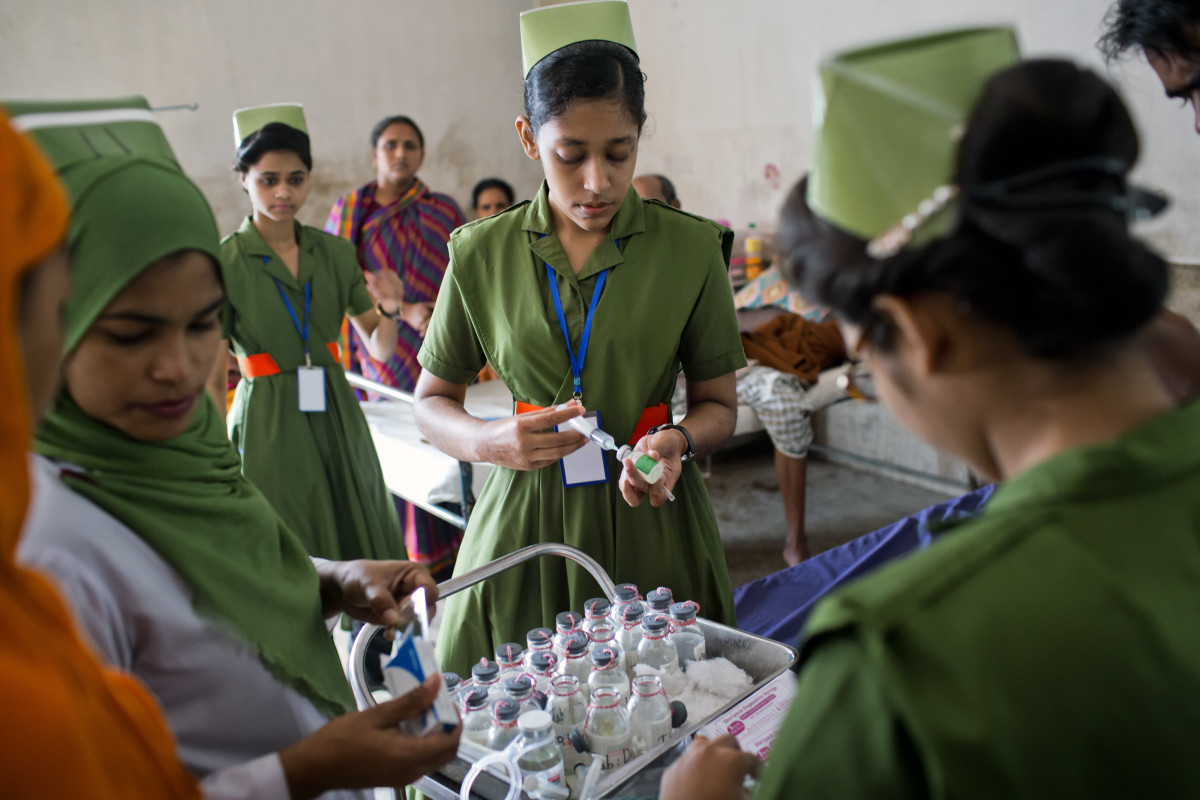 While this rack of medications may look impressive, Johns Hopkins University epidemiologist Emily Gurley, says that Bangladesh hospitals have very little to offer patients suspected of being infected with Nipah virus.