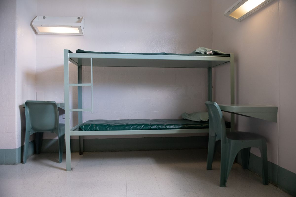 A bunk bed and desks inside a cell are seen at the Caroline Detention Facility in Bowling Green, Virginia, on August 13th, 2018. A former regional jail, the facility has been contracted by the U.S. Department of Homeland Security Immigration and Customs Enforcement to house undocumented adult immigrant detainees for violations of immigration laws.